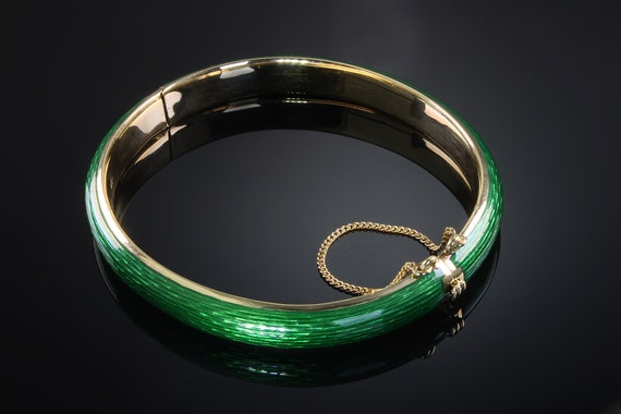 18K Yellow Gold Guilloche Hinged Bracelet, retro jewelry, 1960s, green enamel, tooled metal, unique, holiday gift ideas, gift for her