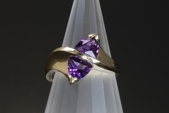 14K Yellow Gold Ring with Two Trillion Cut Amethysts by Cavallo Fine Jewelry