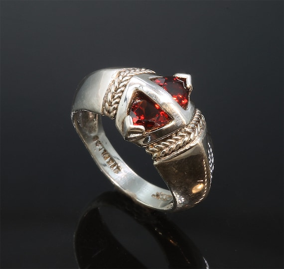 Sterling Silver Ring with Trillion Garnets by Cavallo Fine Jewelry