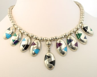 Vintage! Sterling Silver Inlaid Necklace