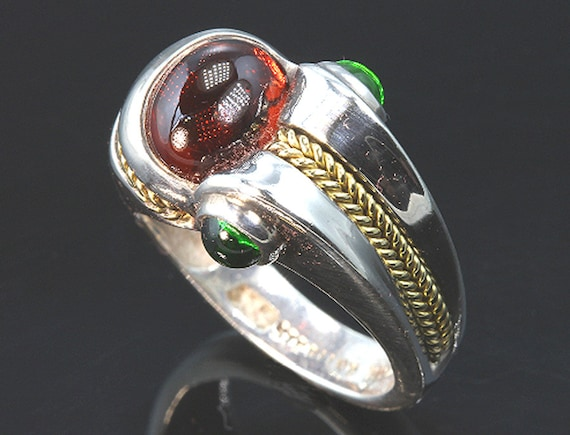 Sterling Silver and 18K Gold Ring with Garnet and Chrome Diopside by Cavallo Fine Jewelry
