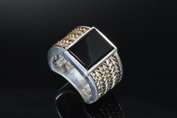 Sterling Silver and 14K Yellow Gold Man's Ring with Onyx Rectangle by Cavallo Fine Jewelry