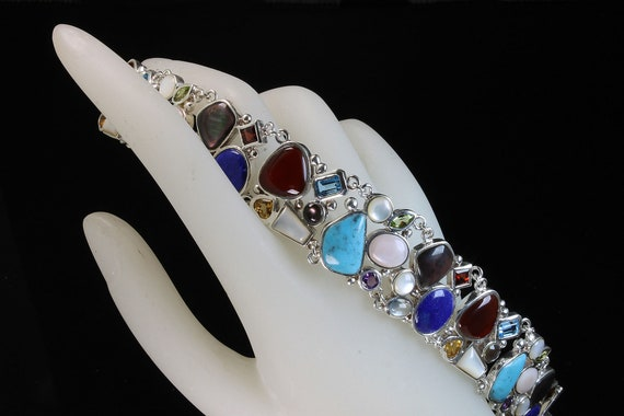 """Vintage multi gemstone sterling silver bracelet, cabochons, faceted colorful bold jewelry, 7.5"""" unisex stylish daily wear great gift idea"""