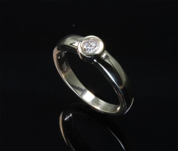 Handmade 14K yellow gold bezel set .15 carat diamond ring, jewelry by Cavallo, engagement ring, everyday wear, classic elegance