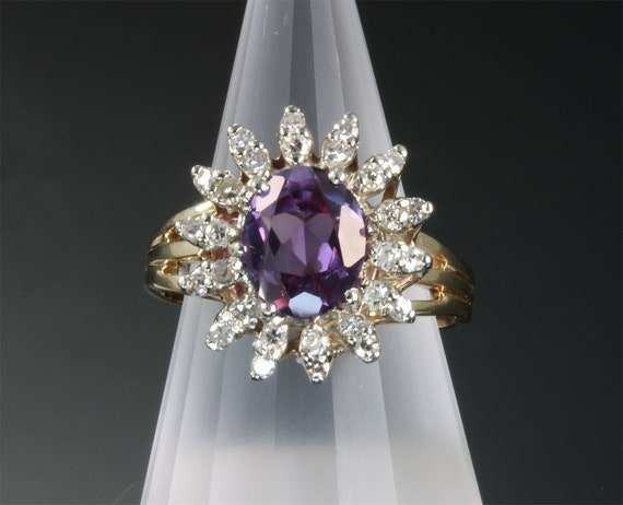 14K Two Tone Gold 1940's Diamond and Purple Sapphire Cocktail Ring