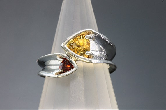 Sterling Silver Citrine and Garnet Ring by Cavallo Fine Jewelry