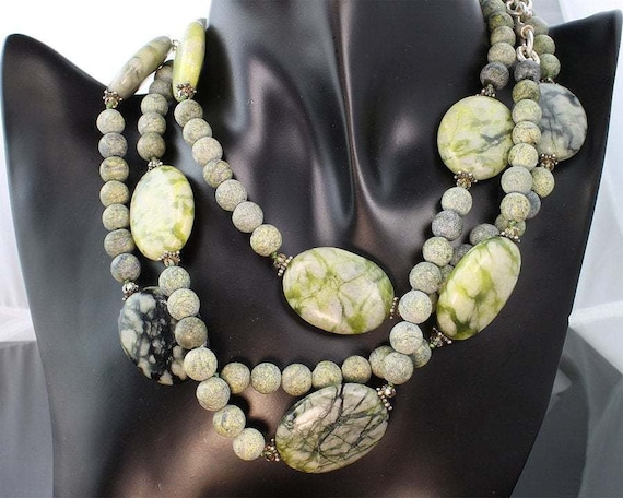 "52"" Serpentine , Swarovski crystal and sterling silver necklace handcrafted jewelry, womans fashion"