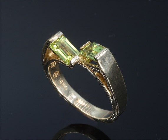 14K Gold Ring with Emerald Cut Peridots by Cavallo Fine Jewelry