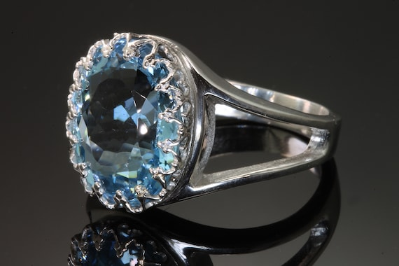 Sterling Silver and Big Blue Topaz Ring by Cavallo Fine Jewelry