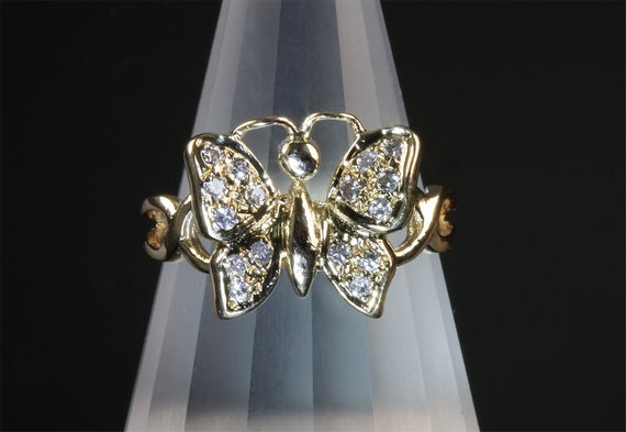 Vintage 14K Yellow Gold and Diamond Butterfly ring