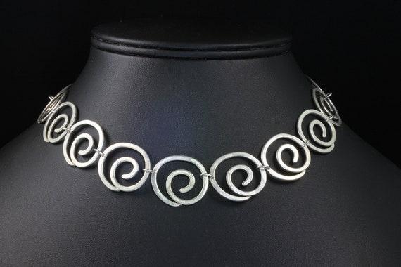 Vintage Sterling Silver Swirl Necklace