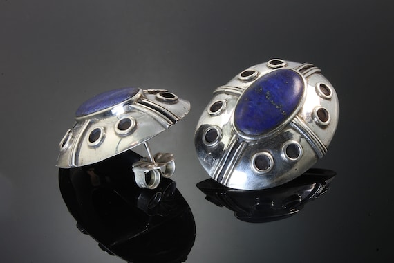 Big bold beautiful blue lapis lazuli sterling vintage earrings by Phyllis Woods, statement jewelry, collectible, Xmas gift idea, stunning