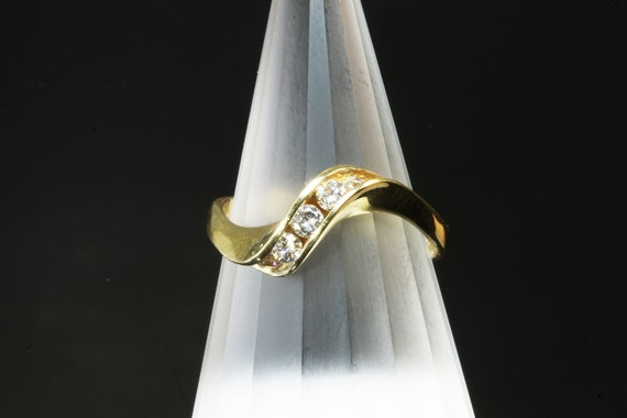 14K Yellow Gold Diamond Twist Ring, .25 tcw sparkles, treat yourself