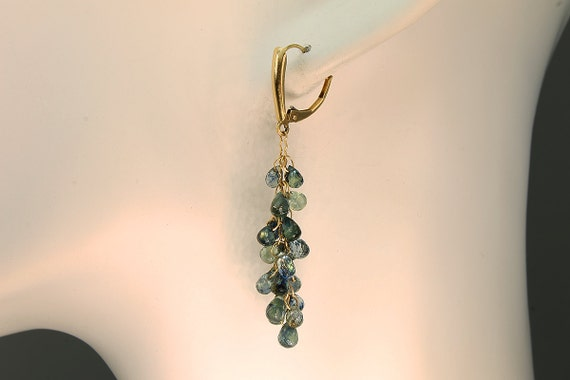 14K Gold and Blue and Green Sapphire Briolette Earrings by Cavallo Fine Jewelry