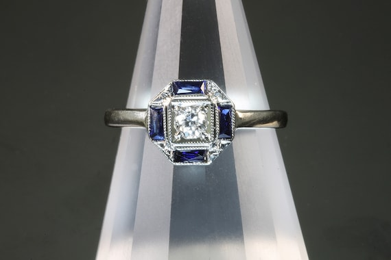 Vintage Art Deco 14K white gold diamond blue sapphire ring, wearable history, engagement ring, feminine gift for her, collectible jewelry