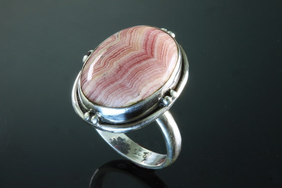 Vintage Sterling Silver 925 Rhodochrosite cabochon ring, large rose pink gemstone, unisex jewelry, compassion, gift for anyone