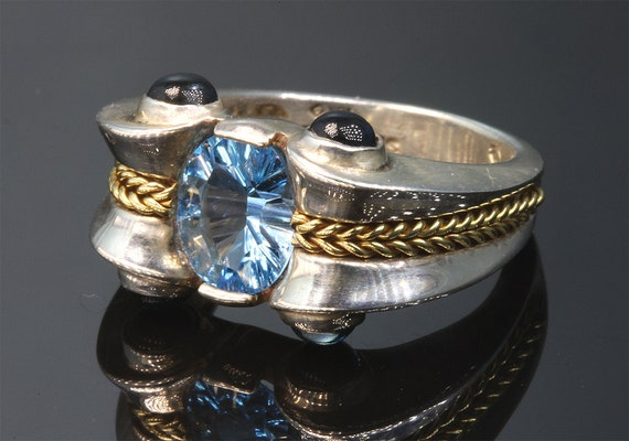 Sterling Silver, 18K Gold and Swiss Blue Topaz Ring by Cavallo Fine jewelry