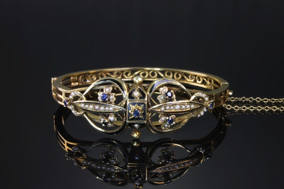Early 20th Century 14K gold bangle bracelet, blue sapphire, seed pearls, antique jewelry, niello, victorian filigree ornate wrist candy