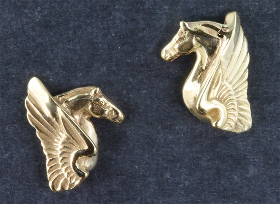 14K Gold Pegasus Earrings by Cavallo Fine Jewelry