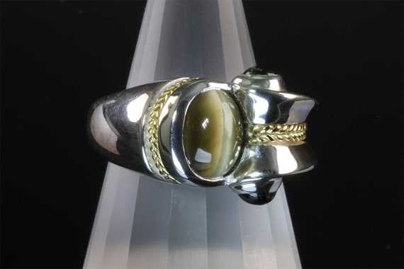 Sterling silver 18K gold handmade ring, cats eye chrysoberyl green tourmaline cabochon Jewelry by Cavallo, unisex jewelry