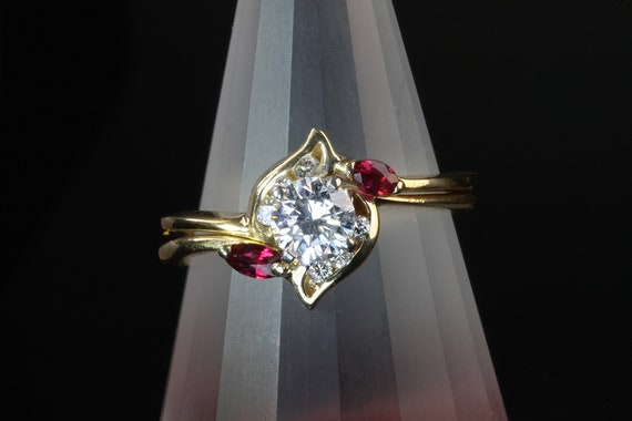 Vintage wedding set 14KY diamond and ruby bridal rings, bride, wedding bells, marry me love engagement marriage, I do