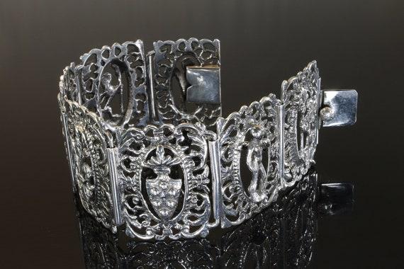 Vintage Italian 800 silver art nouveau style filigree bracelet, wearable art, collectible jewelry, great gift idea