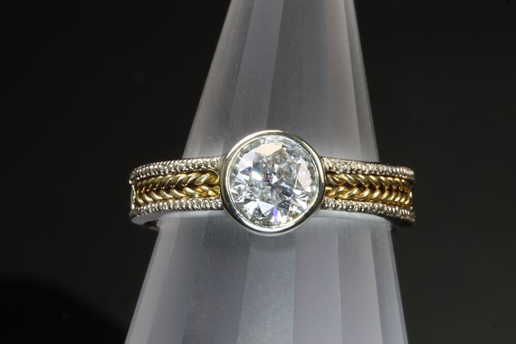14K White Gold, 18K Yellow Gold Diamond Solitaire by Cavallo Fine Jewelry