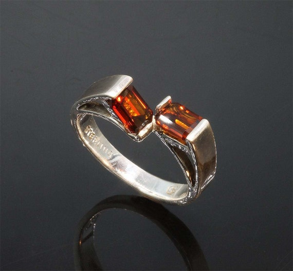 Sterling Silver Ring with Emerald Cut Madiera Citrines by Cavallo Fine Jewelry