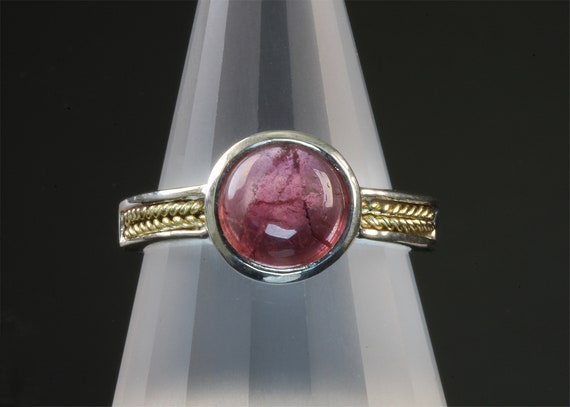 Handmade  Sterling Silver and 18K Yellow Gold Ring with pink tourmaline cabochon, October's other birthstone, mesmerizing gemstone