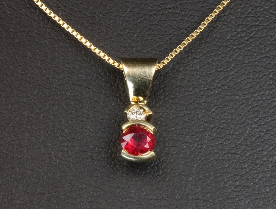 "Genuine ruby and diamond 14K gold pendant 20"" chain included, July birthstone, handmade pendant, fine jewelry Mothers day gift for her"