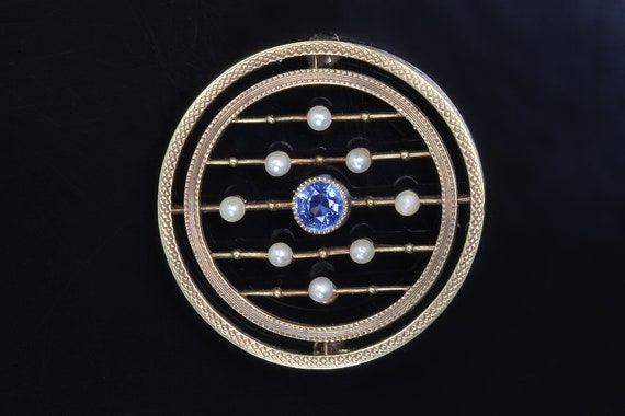 Art deco era 14K yellow gold brooch, blue sapphire pearls, circular pin, glamourous pin, womans fashion september birthstone gift for her