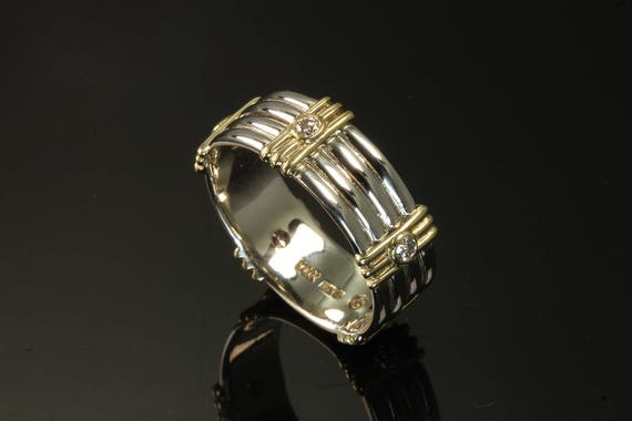 18K Yellow Gold and 14K White Gold Men's Wedding Band size 9.25 by Cavallo Fine Jewelry