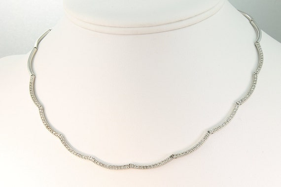 14K White Gold Vintage Necklace with One Half Carat of Diamonds