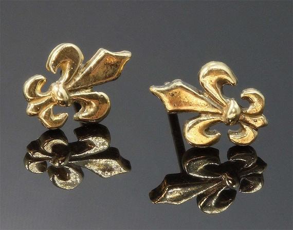 Handmade Stud 14K Yellow Gold Fleur De Lis Earrings, flower lily royalty French feminine gift for her