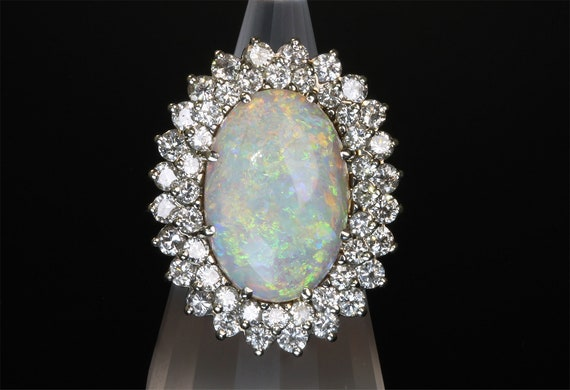 Huge Opal and Diamond 1970s 14K white gold cocktail ring, amazing play of color, luxury gift, statement bold jewelry, over the top