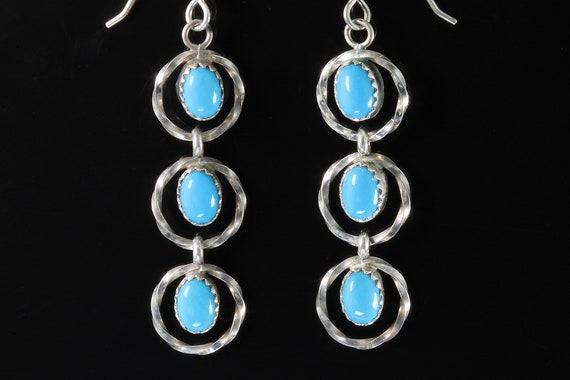 Vintage Sterling Silver 3 Oval Blue Turquoise drop dangle earrings, fashionable southwestern look, great gift idea, Decembers birthstone