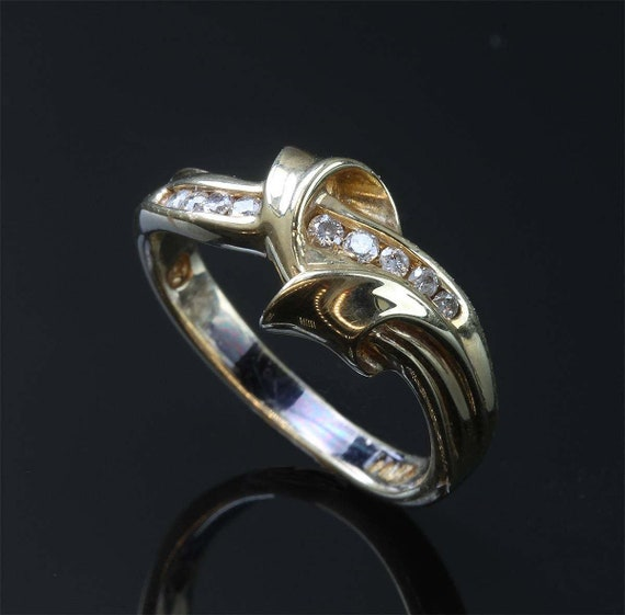 Handmade 14K Yellow Gold and Diamond Woman's ring, sparkles, everyday wear, April birthstone, gift idea, Mothers Day