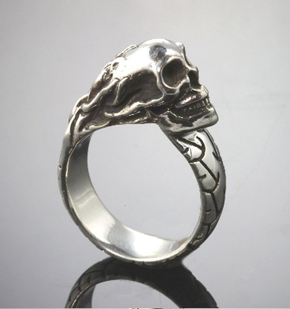 Sterling Silver Motorcycle Tread Ring with Flaming Skull by Cavallo Fine Jewelry