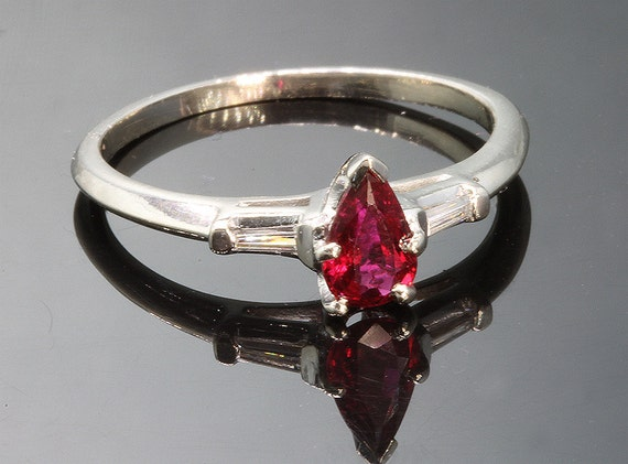 14K White Gold, Pear Shaped Ruby and Tapered Baguette Diamond Vintage Engagement Ring
