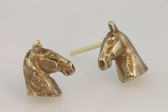 14K Yellow gold Tennessee Walker Stud Earrings, handmade jewelry, horse jewelry equestrian gift unisex horse lover