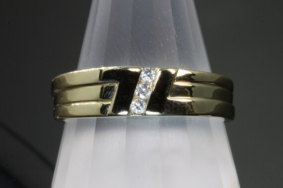 14K Yellow Gold Vintage Man's Diamond Wedding Band