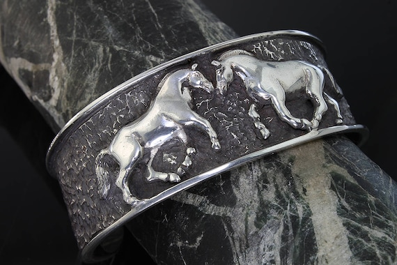 Mens Sterling Silver Norwegian Fjord Cuff Bracelet by Cavallo Fine Jewelry (Made to Order)