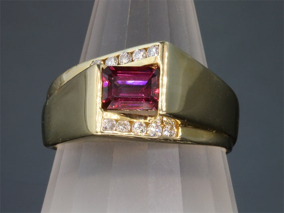 14K Yellow Gold Ring with Emerald Cut Rhodolite Garnet and Diamonds by Cavallo Fine Jewelry