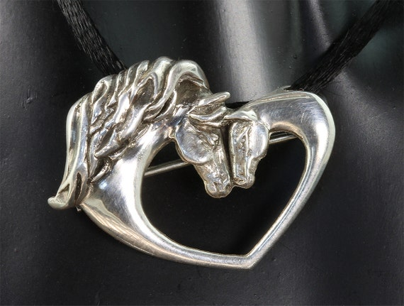 Sterling Silver Mare and Foal Pin/Pendant by Cavallo Fine Jewelry