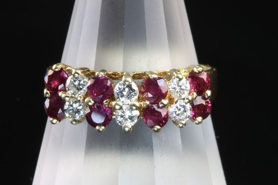 Fabulous dazzling 14K yellow gold diamond ruby ring, right hand ring retro womans fashion gift for her Mothers day, cocktail ring elegant