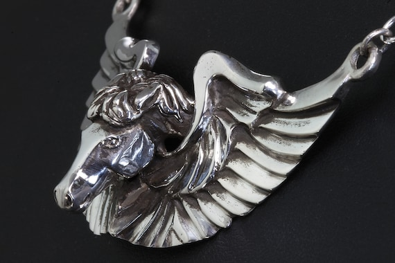 Sterling Silver Winged Victory Equine Necklace by Cavallo Fine Jewelry