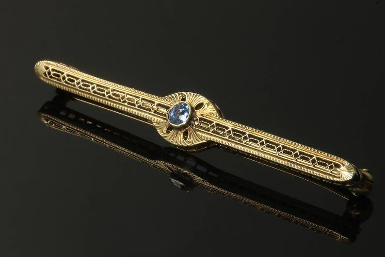 Vintage 14K Gold Art Deco Sapphire Bar Pin