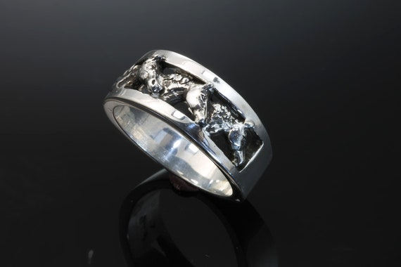 Handmade sterling silver 3 Warmblood  Horsehead ring, Cavallo herd collection, horse breeds, equestrian gift, unisex jewelry, giddy up!