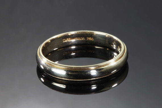 Vintage Tiffany & Co 18K yellow gold band, size 10.5, width 3.7mm wedding ring, stackable, classic, elegant, unisex jewelry