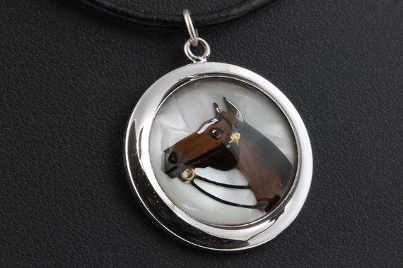 Sterling Silver Reverse Painted Vintage Horse Head Pendant